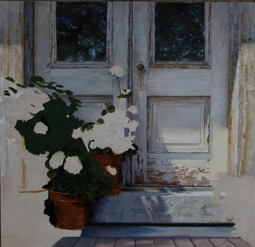 """Vermont Door with Flowers"" original oil work in progress by Carroll Jones III"