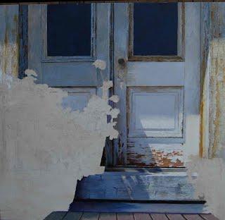 """Vermont Door with Flowers"" W.I.P. oil painting, June 27, 2012"
