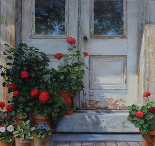 Vermont Afternoon by Carroll Jones III oil painting red geraniums on steps of old double doors, chipping paint