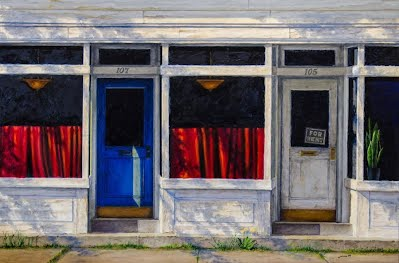 JERSEY CITY STOREFRONT 1951 by Carroll Jones III Oil of '50s storefront Red, White and Blue