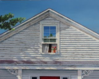 Original oil by Carroll Jones III , The Attic  September 28, 2013 Cobalt blue sky with white house