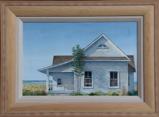 the Shore House, original oil painting, by Carroll Jones III New Jersey Artist  Old white house surrounded by salt marshes with ocean in the background