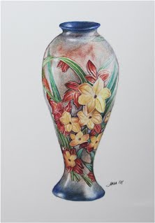 TIFFANY VASE by Carroll Jones III prismacolor on Arches 140lb Hot Press