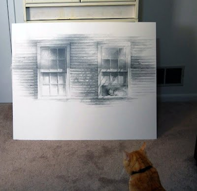 Cute picture of real cat looking at drawing of himself in window