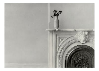 HOBOKEN STILL LIFE by Carroll Jones III --graphite drawing of antique white fireplace with ornate black cover and dried flowers in vase atop