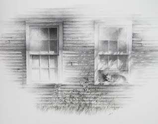 Arrangement With Percy and Two Windows--original graphite drawing by Carroll Jones III
