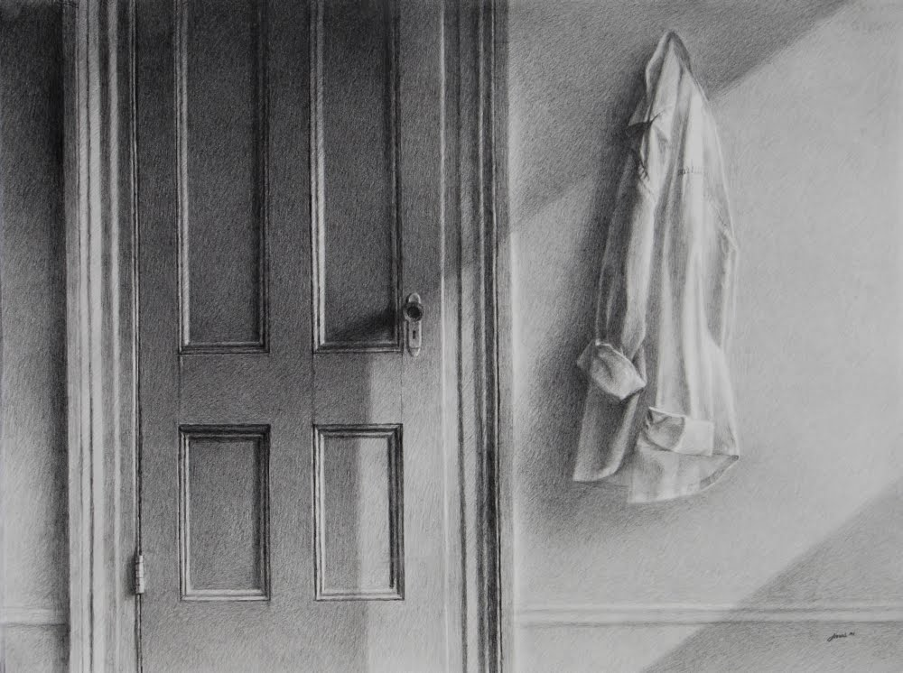 ARRANGEMENT WITH DOOR AND SHIRT by Carroll Jones III graphiie drawing w/diagonal sunlight