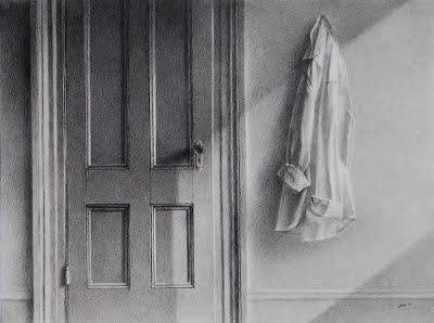 ARRANGEMENT WITH DOOR AND SHIRT by Carroll Jones III graphiie drawing w/diagonal sunlight