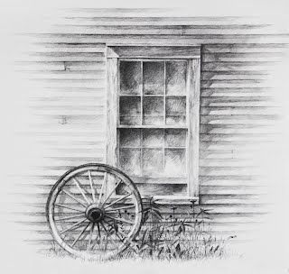 Wagon Wheel drawing with window, graphite on Arches by Carroll Jones III