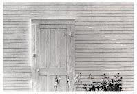 AGAIN, SPRING by Carroll Jones III...white building w/door rimmed in bright sunlight, iris flowers