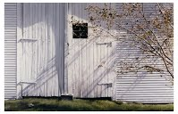 AUTUMN'S HOUR by Carroll Jones III White clapboard barn doors with nearly barren fall tree