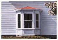 FIRST FROST by Carroll Jones III bay window on white clapboard house with sunlight, tree