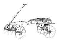 RILEY by Carroll Jones III graphite drawing of cat laying across wagon