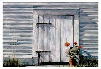 SUMMER'S END by Carroll Jones III oil painting of lambs door, red geraniums
